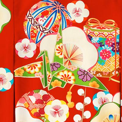 女の子着物柄 折り鶴
