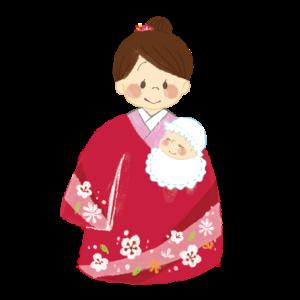 お宮参り女の子着物イラスト