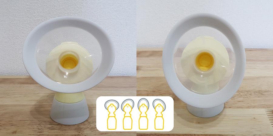 360度回転可能なオーバル形状のさく乳口